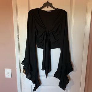 Fashion Nova Black Front-Tie crop w Flare Sleeves